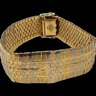 Vintage 18k Tricolor Gold flexible Bracelet wide signed Diamans