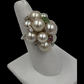 Vintage Seaman Schepps 14k White Gold Tourmaline Diamond Baguette Pearl Ring