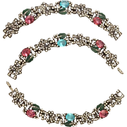 Early Trifari Convertible Bracelets to Necklace Set