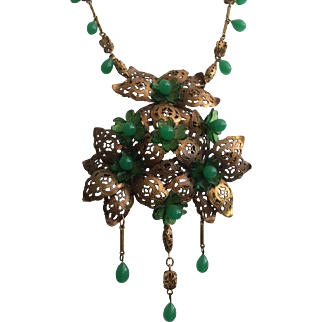 Large Openwork Metal and Green Glass Bead Pendant Necklace