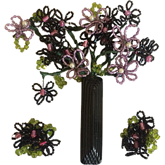 Black and Purple Flower Vase Pin and Earrings