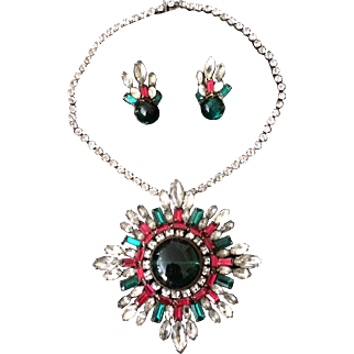 Christmas Splendor Pin-Pendant and Earrings Set