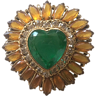 Stunning Yellow and Green Heart Pin