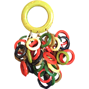 Colorful Anka Rings of Bakelite Brooch