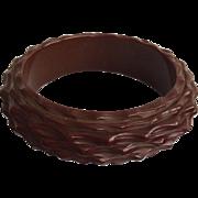 Deeply Carved Brown Bakelite Bangle Bracelet