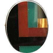 Sterling Silver Geometric Mineral Ring