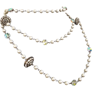 54-Inch Sautoir with Faux Pearls, Saucer Shaped Rondelles and Crystals