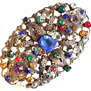 1930's Czech Pin with Multi-colored Stones