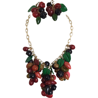 Anka Celluloid Mixed Fruit Necklace and Earring Set
