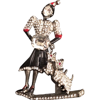 1920's Lady Walking Her Dogs Trembler Pin