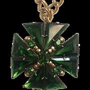 Green Maltese Cross Pendant Pin Necklace