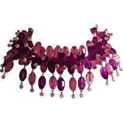 Pink and Purple Faceted Plastic Beaded Necklace