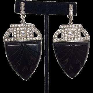Carved Bakelite and Rhinestone Art Deco Earrings
