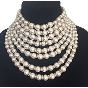 Faux Pearl and Rondelle Bib Necklace