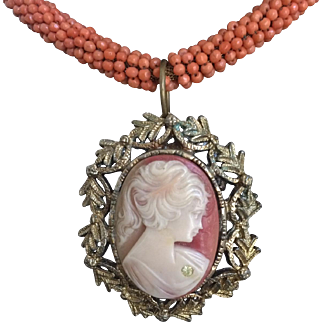 Beautiful Cameo Pendant Matched with Haskell Beaded Chain