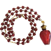 Heart Shaped Beads and Red Glass Perfume Bottle Necklace