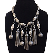 Statement Necklace with Multi-Drops and Tassels