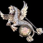 Pavéd Pegasus Watch Pin Brooch