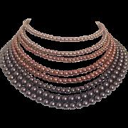 8 Strand Mauve Faux Pearl Necklace