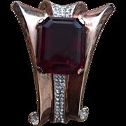 Crown Trifari Sterling Retro Fur Clip