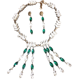 Green and Clear Marquise Stone Necklace and Earring Set