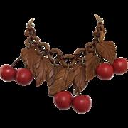 Vintage Wood Cherry Necklace
