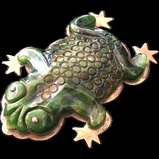 Carved Bakelite Frog Clip