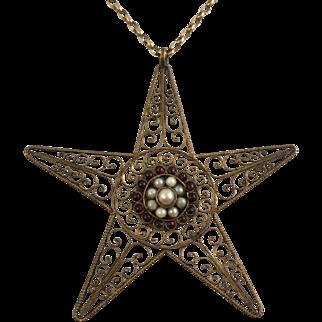 Delicate Filigree Star Pendant Necklace