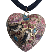 Enameled Puffy Heart Pendant with Bird and Flower Motif