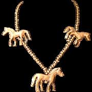 Vintage Brass Horse Necklace