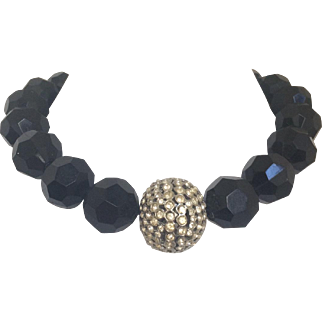 Sleek and Chic Black Bead and Rondelle Choker