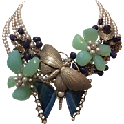 Silver and Semi-Precious Stone Butterfly and Floral Necklace