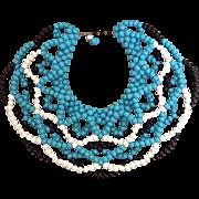 Tri-colored Beaded Bib Necklace