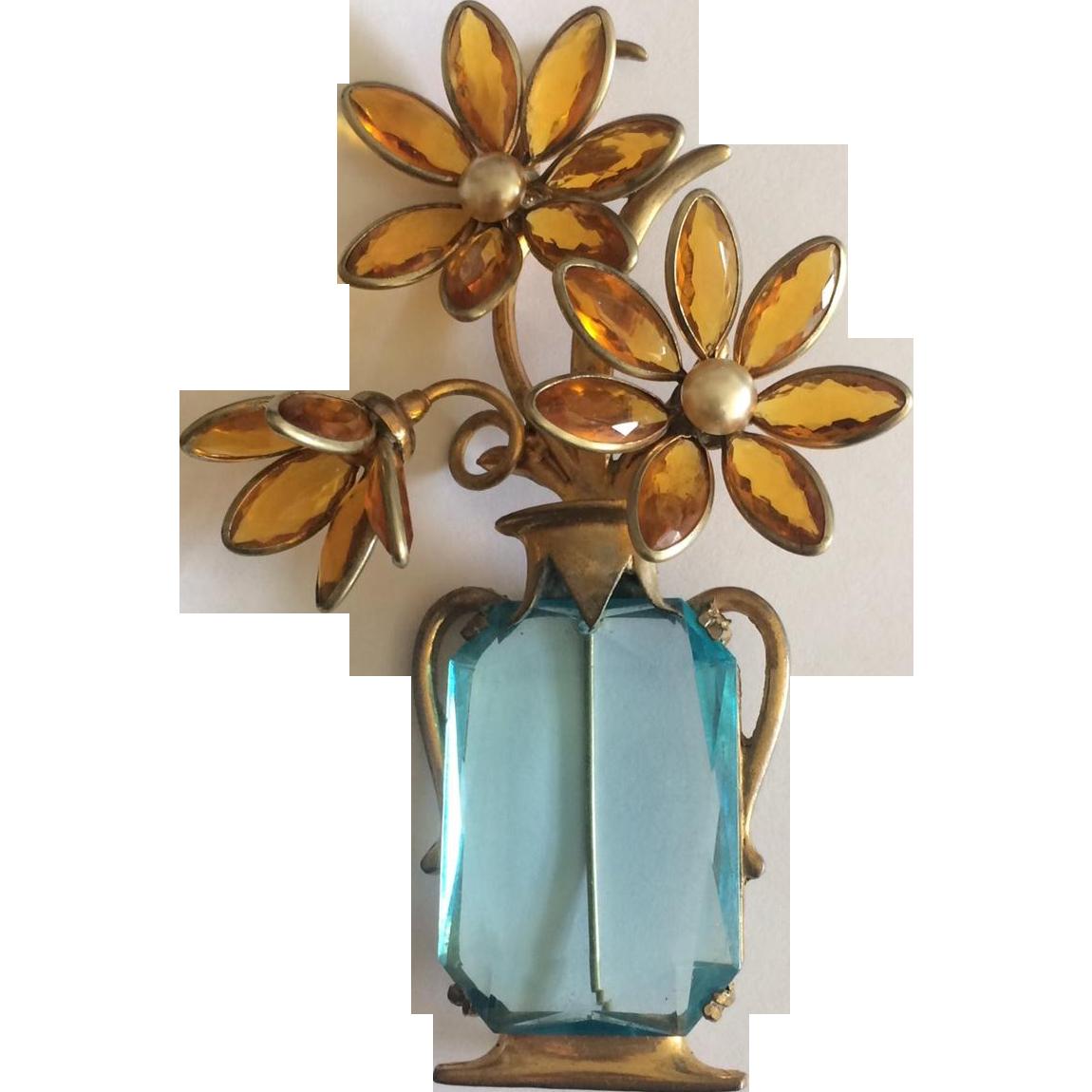 Golden Flowers in an Aqua Vase Pin