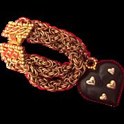 Dominique Aurientis Wood Heart and 3 Chain Bracelet