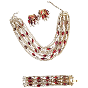 1960's Red Stone and Faux Pearl Necklace, Bracelet, Earring Set
