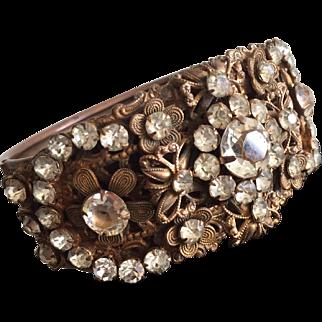 Ornate Brass and Clear Rhinestone Bangle Bracelet