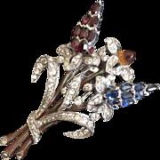Crown Trifari Floral Bouquet Fur Clip
