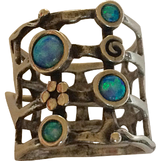 Sterling and Opal Open Work Ring