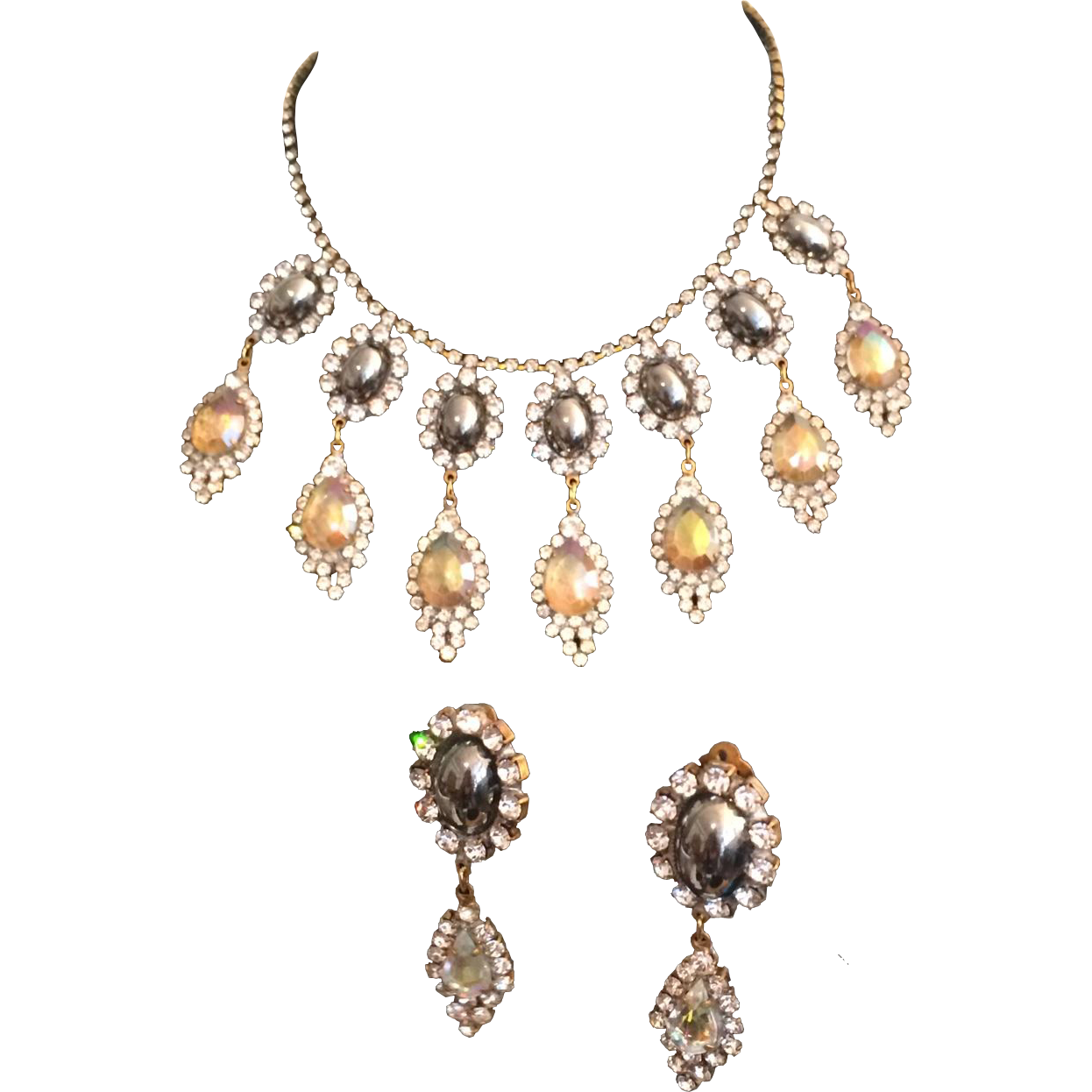 fancy dangle necklace and earring set from a connoisseurs
