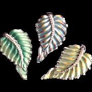 Three Coro Leaf Clips