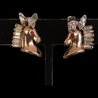 1930's Horse Head Clip Earrings