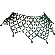Lacy Green Glass Bead Bib Necklace