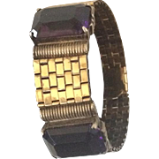 Classic Retro Bracelet with Amethyst Colored Stones