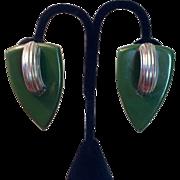 Stunning Green Bakelite and Chrome Earrings - 1930's