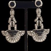 Art Deco Black and White Earrings