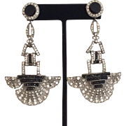 Art Deco Black and White Earrings