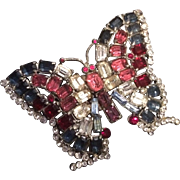 Colorful Rhinestone Butterfly Brooch