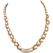 Lovely Signed Miriam Faux Pearl Haskell Necklace