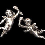 Pair of Sterling Cherub Pins